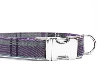 Purple Dog Collar, Plaid Dog Collar, Tartan Dog Collar, Dog Collar, Dog Gift, Girl Dog Collar, Tartan Plaid Collar, Dog Lover Gift, Leash