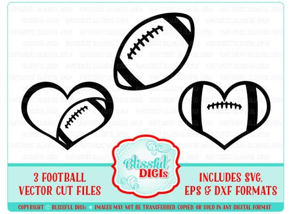 Football Heart Vector Cut Files Perfect For Decals And Apparel Etsy