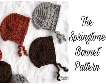 Crochet PATTERN: The Springtime Bonnet, vintage inspired, bunny, fox, bear, baby bonnet