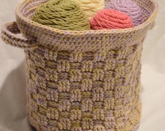 Handmade Round Basket-weave Basket with Handles