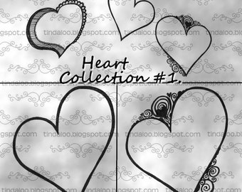 Doodle Heart Collection 1 - Digital stamp lineart images