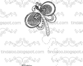 Doodle Butterfly - Digital stamp lineart image