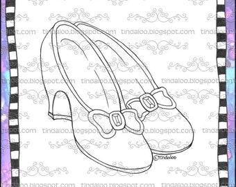 Doodle Ruby Slippers - Digital stamp lineart images