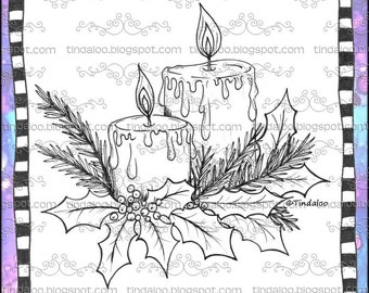 Doodle Christmas Candles - Digital stamp lineart images