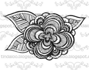 Doodle Flower - Digital stamp lineart image
