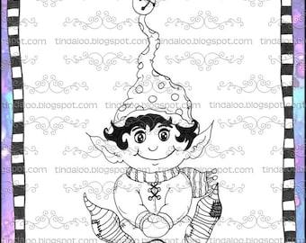 Doodle Jingle Elf - Digital stamp lineart images