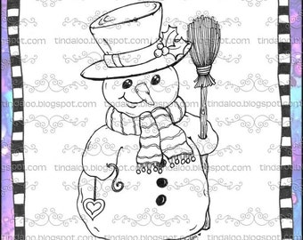 Doodle Snowman with a heart - Digital stamp lineart images
