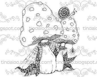 Whimsy Doodle Mushrooms - Digital stamp lineart image