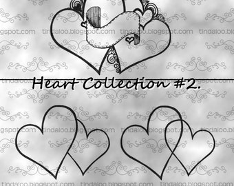 Doodle Heart Collection 2 - Digital stamp lineart images