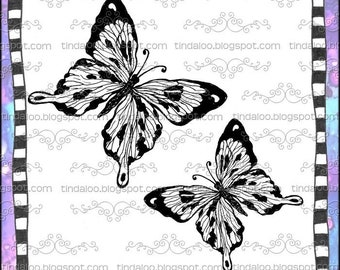 Doodle Flutterby Butterfly - Digital stamp lineart images