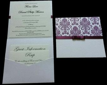 Purple Damask Wedding Invitations - Wallet & Postcard