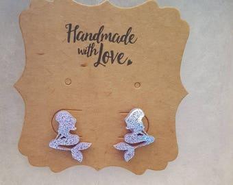 Mermaid glitter earrings lavender