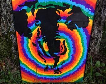 "9x12 Framed ""Tiedye Elephant"" painting"