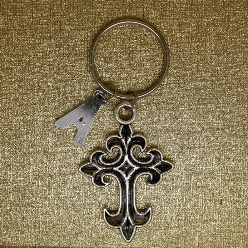 Christmas gift best friend gift. initial keychain silver cross charm keyring CROSS keychain