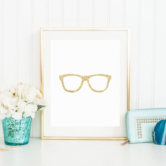 geek chic nerd glasses gold sparkle printable kate spade etsy. Black Bedroom Furniture Sets. Home Design Ideas
