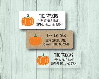Pumpkin Labels - Fall Return Address Labels - Autumn Theme - Halloween Party Invitation Labels - Cute Rustic - White, Kraft, Clear