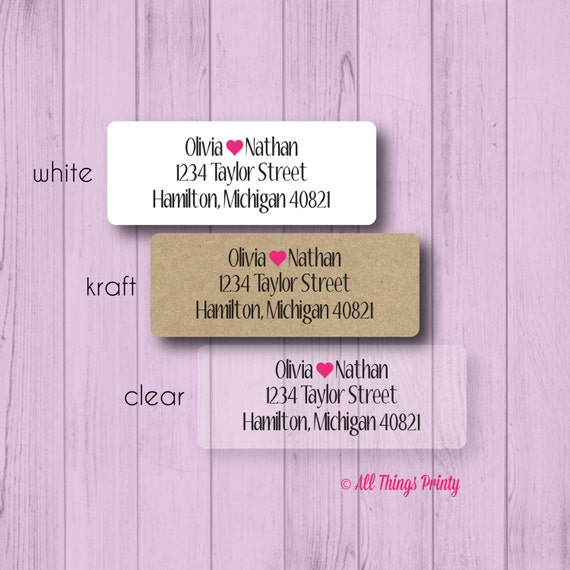 custom love return address labels personalized wedding or etsy