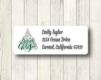 Custom Christmas Tree Address Labels - Personalized Holiday Return Mailing Labels - Merry Christmas - Matte White, Kraft, or Clear Gloss