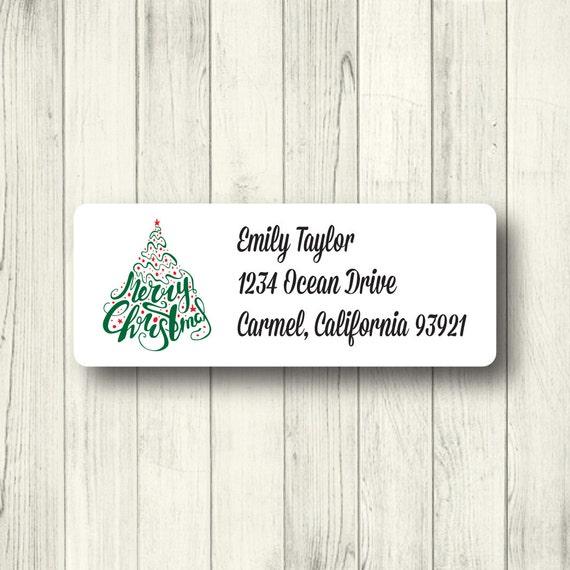 custom christmas tree address labels personalized holiday etsy
