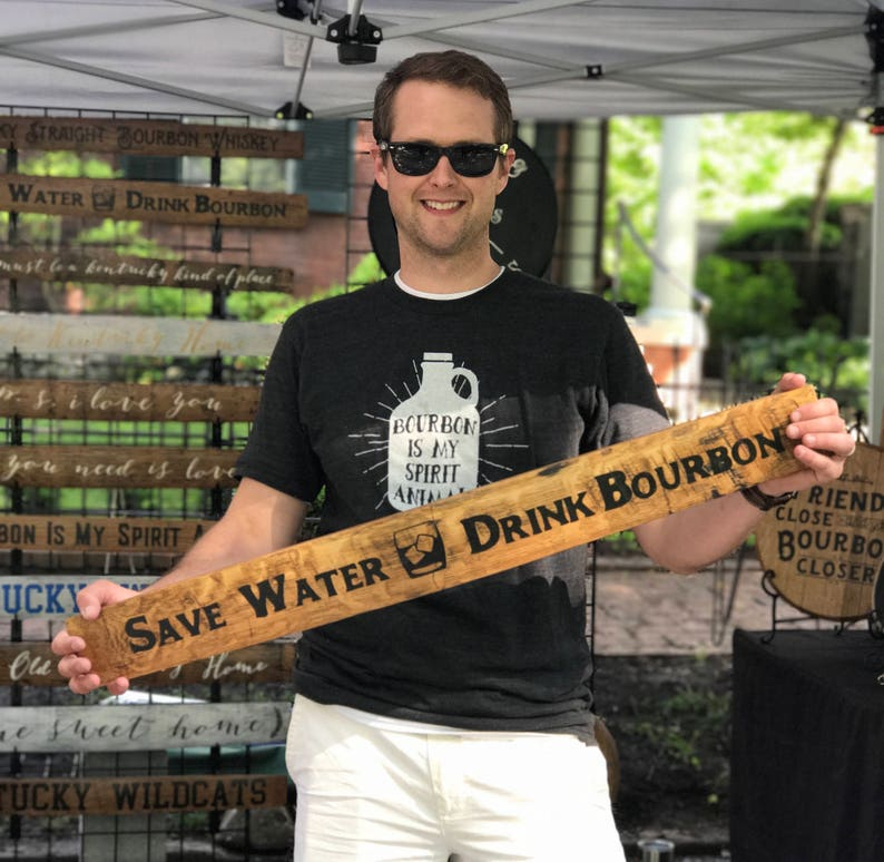 Save Water Drink Bourbon Handpainted Bourbon Barrel Stave image 0