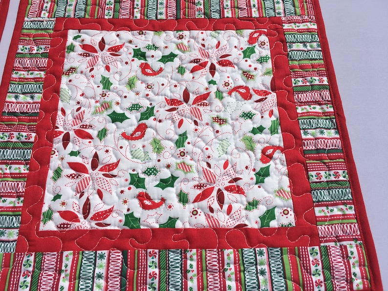 Christmas or Winter Holiday Set of 4 Square Quilted Placemats Green Ivy and Red Cardinal Insulated Dining Placemats Winter White