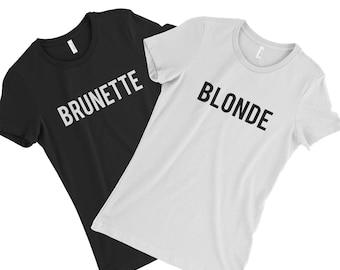 ab5ef3ee4 Blonde Brunette T-shirt blondes brunettes funny Men's Women Youth size  Shirts all sizes