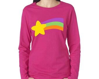 rainbow star print t shirt halloween cosplay costume fuchsia pink long sleeve mens womens size shirts