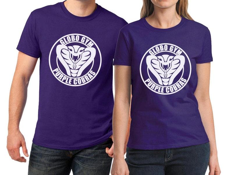 Adult Men/'s Comedy Movie Dodgeball Globo Gym Purple Cobras Logo Black T-Shirt