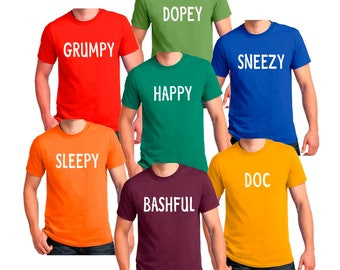 7 Dwarfs T-shirt Dwarf Halloween Costume Men's, Women's, Youth, Toddler,Baby Creeper Cosplay shirts
