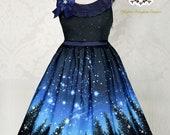 ETERNAL NIGHT SKY Jumperskirt 1 Rundhals Glow In The Dark Lolita Jsk Blaue Galaxie Dress Skater Gothic Nacht Himmel Sterne Mond Universum