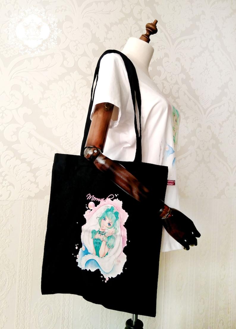 Organic cotton bag PIA with long strap Fair Jute Bag Tote Bag Certified Cotton Vegan Manga Anime Lolita Motif 3 Colors