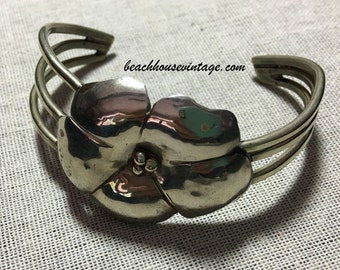 Vintage Artisan Silver Tone Flower Cuff Bracelet