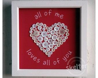Button Love Heart Frame - Handmade Button Framed Keepsake Gift Picture, Small (24x24cm)