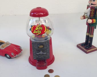 Jelly Belly Mini Bean Machine Bank Dispenser,  Red Gumball Machine, Jelly Belly Dispenser, Mini Dispenser