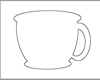 8.5 inch Tea Cup Template-Printable Tea Cup-Coffee Cup Template-Tea Party Decor-Coffee Shop Cutouts-Bridal Shower DIY-Printable Cutouts