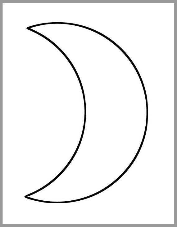 printable moon template large crescent moon cutout 9 inch etsy