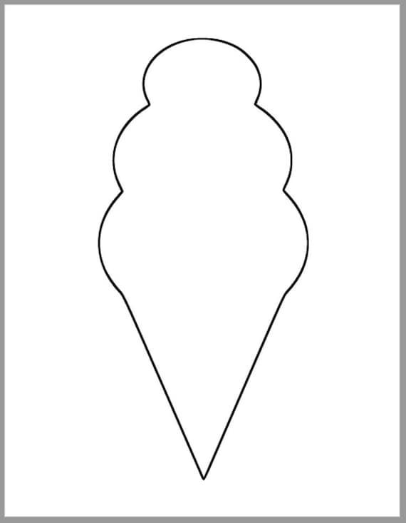 9.5 inch Ice Cream Cone Template-Printable Ice Cream