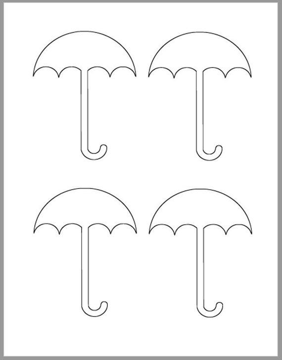 4 Inch Umbrella Template Instant Download Cutouts