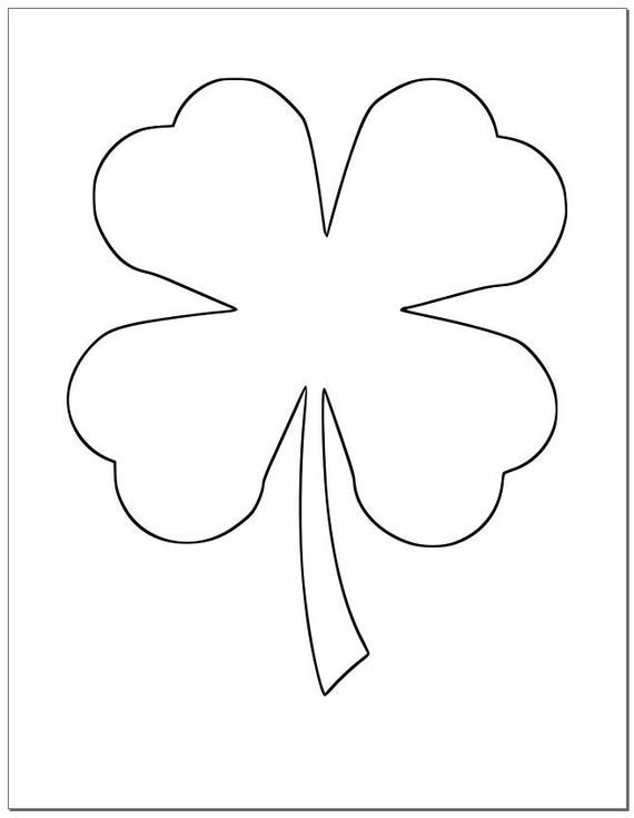 8.5 inch Shamrock Template-Large Printable Shamrock-St. Patrick's Day-DIY Crafts-Large 4 Leaf Clover Template-Kids Crafts-Classroom Decor