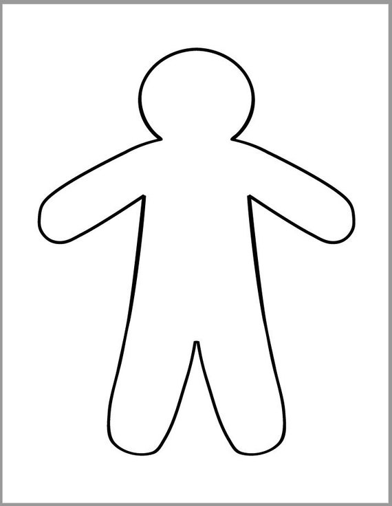 9 Inch Gingerbread Man Template Printable Gingerbread Etsy