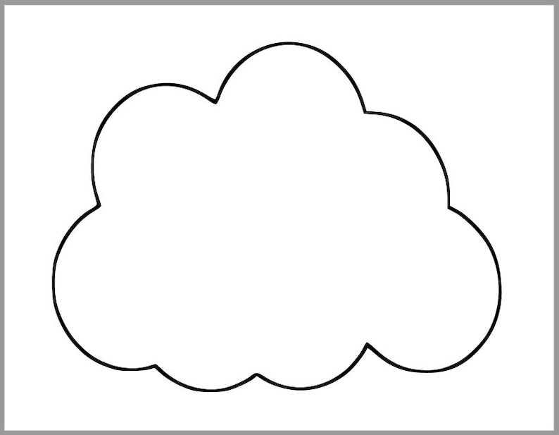 Printable Cloud Template Baby Shower Decor Spring Etsy