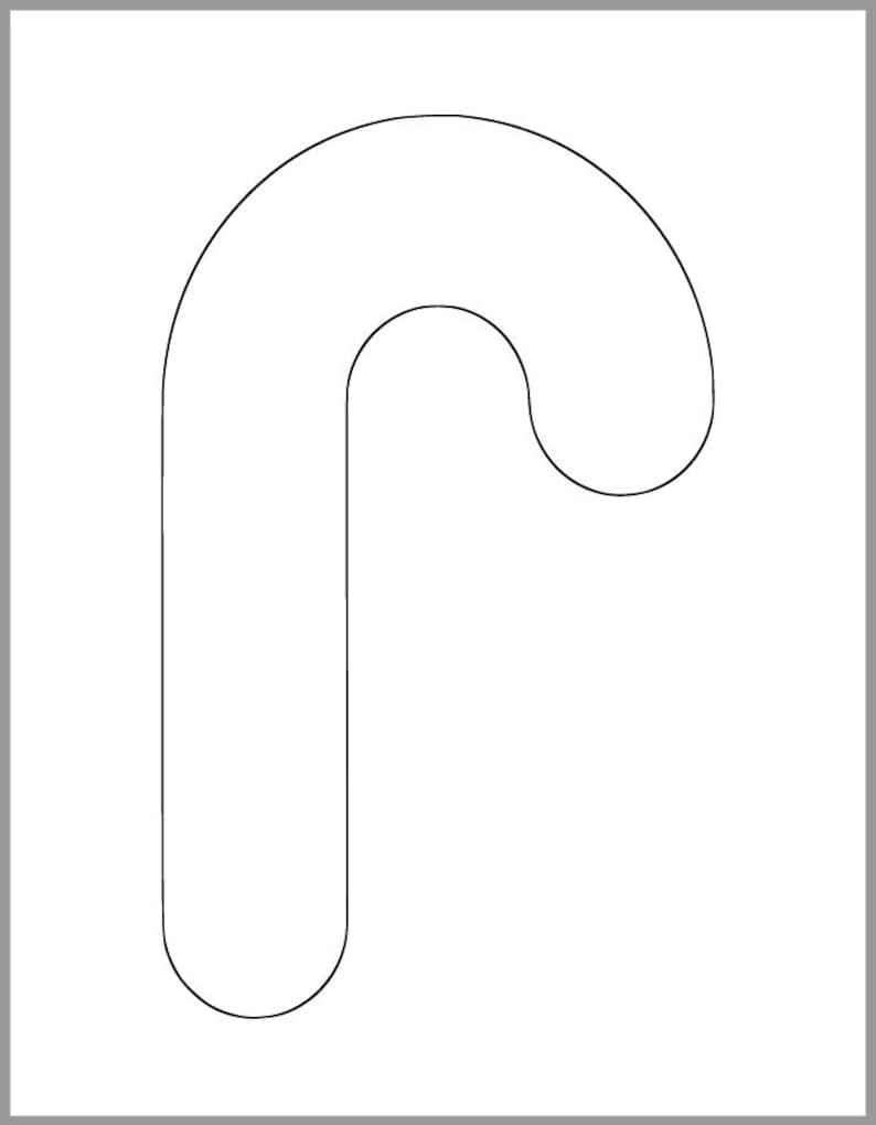 This is a graphic of Intrepid Candy Cane Template Printable