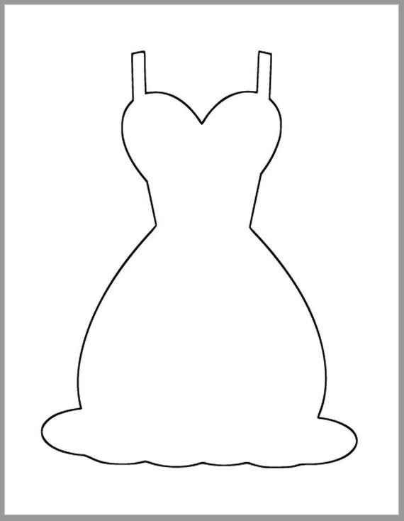 9 inch wedding dress template printable dress cutouts diy etsy