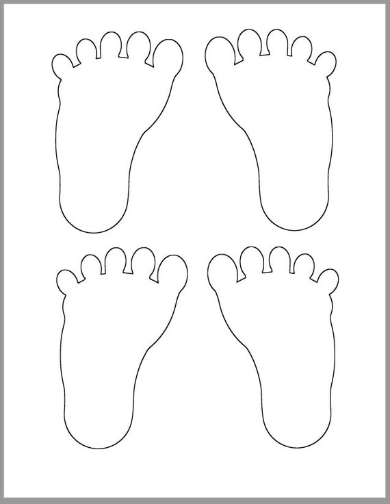 4 5 inch footprint template baby shower decor diy advice etsy