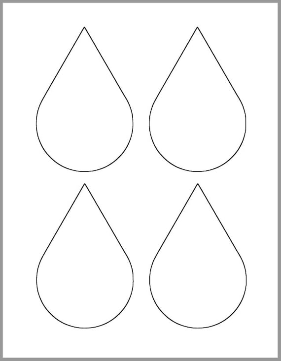 45 Inch Printable Rain Drop Template Large Rain Drop Etsy