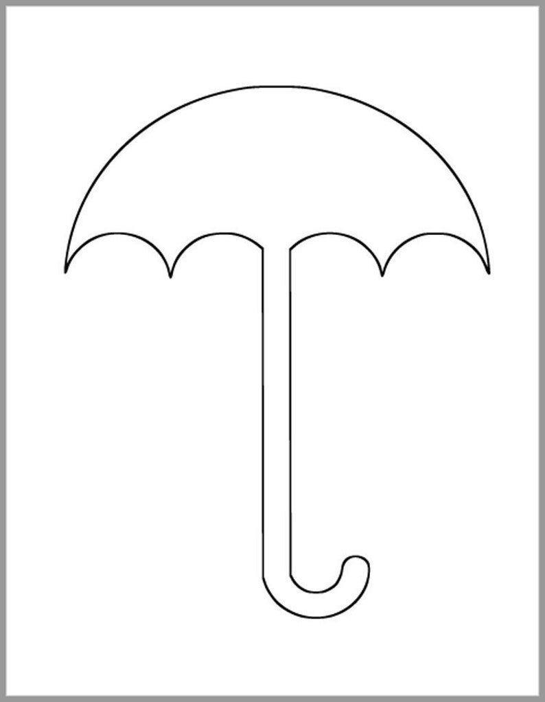 8.5 inch Umbrella Template-Instant Download Cutouts-Umbrella Cutout-Baby Shower Decor-Weather Template-Classroom Decor-Kid Crafts-Color Page