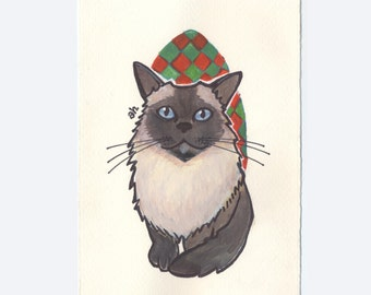Personalized Pet Portrait   Original Gouache and Ink Painting Made to Order