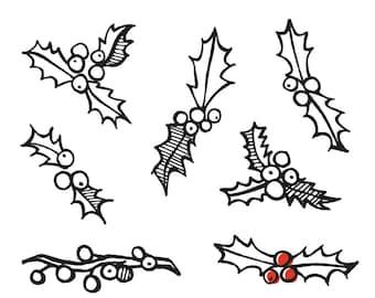 Hand-drawn Holiday Ivy  Vector Graphics