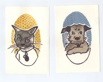 Personalized Pet Portraits   Two Original Gouache and Ink Paintings Made to Order