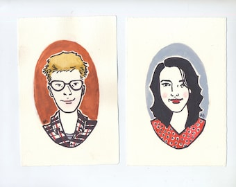 Personalized Couple's Portrait   Original Gouache and Ink Paintings Made to Order